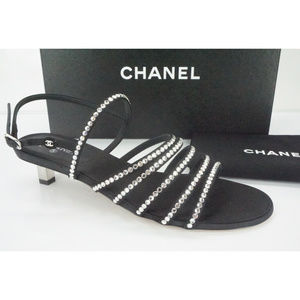 Chanel Crystal Caged Strap Kitten Heel Sandals